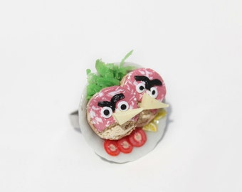 Sandwich Ring - Food Ring -  Angry Birds Ring - Food Jewelry