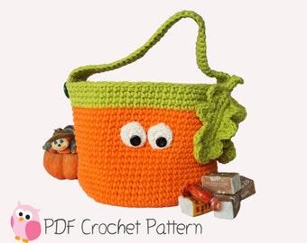 Halloween Pumpkin Basket Crochet Pattern Digital Download