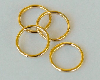 25 GOLD Closed 8mm Jumprings Connector - 18 gauge Round Gold Plated Brass Soldered Closed Jump Ring Links - Instant Ship from USA - 5483