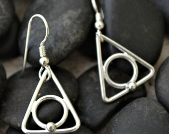 Sterling silver recovery earrings.  Hand made.