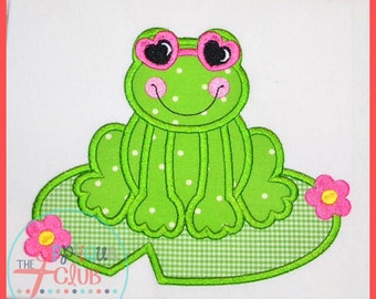 Frog with Sunglasses sitting on Lily Pad Personalized Applique Shirt