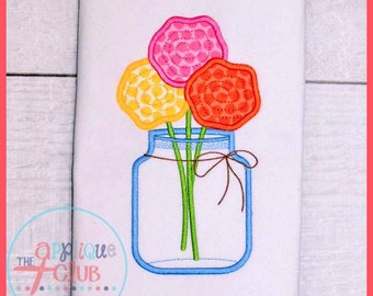 Flowers in a Jar - Appliqued and Personalized