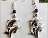 Dolphin Earrings with Lapis Lazuli