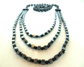 "Vintage Necklace Onyx Hematite 3 Strand 80's 30"" (item 12)"
