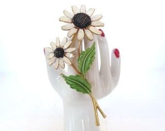 Vintage Enameled Flower Brooch Lisner Black Eyed Susan White 60's (item 208)