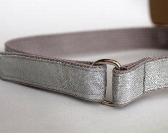 Silver Glitter Belt D Ring Velcro Girls