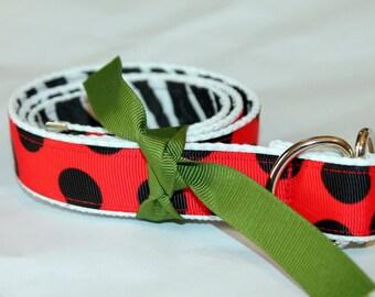 Zebra Ribbon Belt Reversible to Red and Black Polka Dot