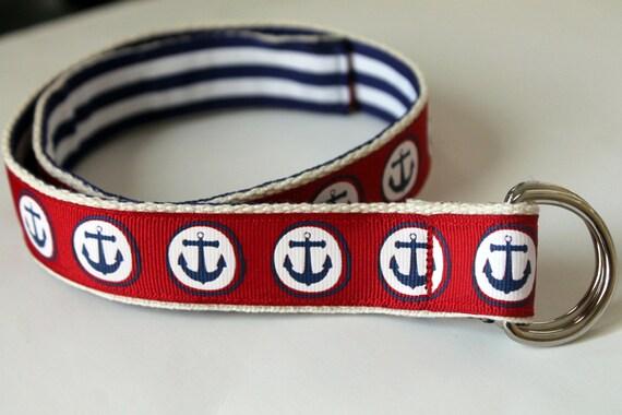 "Nautical Ribbon Belt Reversible Belt Red Anchor Belt Navy Stripe Belt Ladies Nautical Belt Two Sided Belt Preppy Belt Plus Size Belt 1"" Wide"
