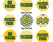 INSTANT DOWNLOAD Packers POlka Dot Chevron 1 inch circle Bottlecap Images