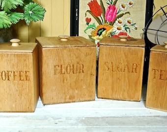 Vintage Handmade Wooden Kitchen Canister Set 1976 Unfinished Coffee Tea Sugar Flour Nesting Tins Set of 4