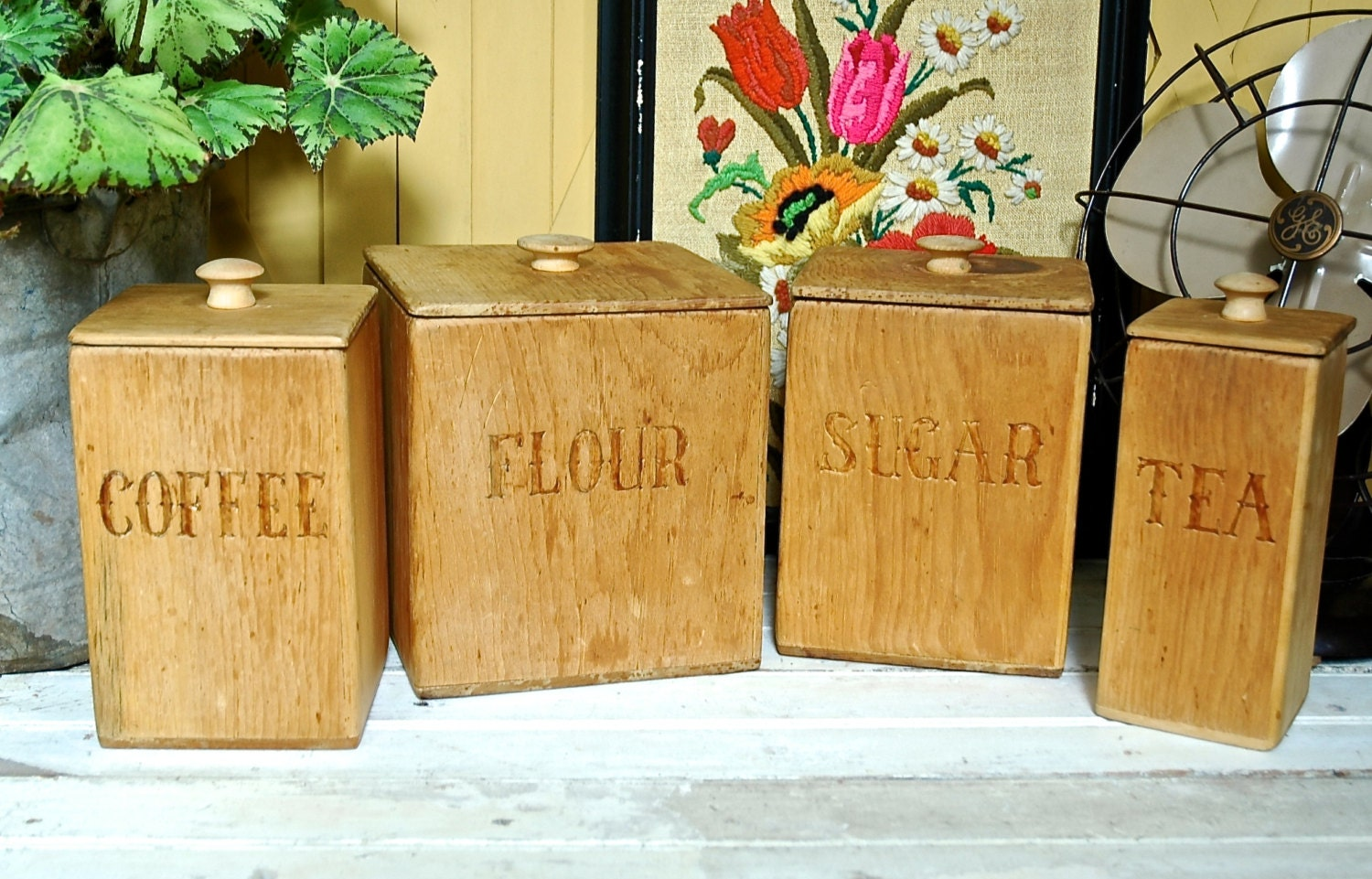 vintage handmade wooden kitchen canister set 1976 by shop houzz sierra living concepts sugar and tea wooden