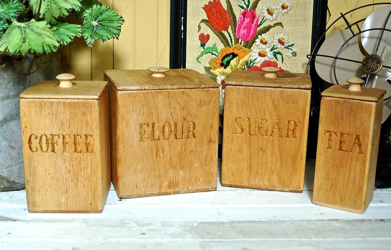 vintage handmade wooden kitchen canister set 1976 by 45 vintage wooden kitchen canister set kitchen pinterest