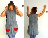 Heart  Sweater Cardigan -  Shawl Collar Vest - Hand Knit  Cable Snood Grey  Gray - Oversize sweater, Plus size sweater, Winter tunic top