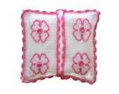 Crochet  Napkin Holder with Pink Flower ,Lace -