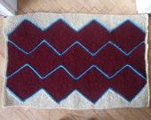 Chevron Claret red and Ecru hand-knitted doormat - home accessories handmade oval-Doormat