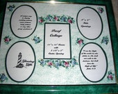 Green 11x14 FRAME Hand-Painted Decorative Photo Collage Mat with Navy & Burgundy Roses