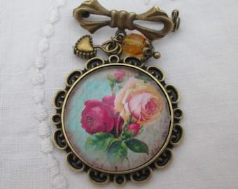 Bowknot brooch pink roses handwriting retro