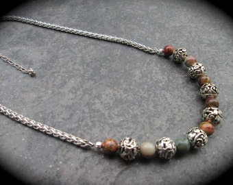 Picasso Jasper beaded gemstone necklace with foxtail chain and silver filigree beads Fall colors