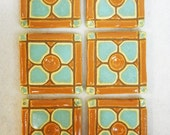 Handmade Mosaic Ceramic Tiles Terra Cotta and Turquoise Dogwood Pattern set of 6