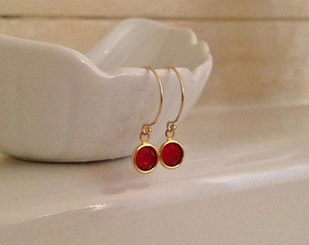 Tiny Ruby Red Crystal Earrings in Gold