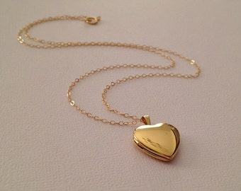 Heart Locket Necklace in Gold Fill -Not Plated