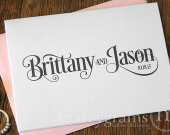 Custom Wedding Thank You Cards - Names & Date Bridal Couple's Shower Personalized Thank You Notes - Pink, Purple, Lagoon, Gold (25ct) CS06