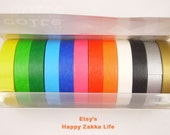 Japanese Washi Masking Tape Set - Colte - Bright Color Set - 10mm Wide - 12 Rolls in different Colors - 13 Yards (Each Roll)