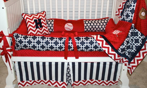 Boys custom baby bedding 6 pc set Baseball set,