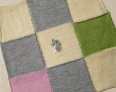 Knitted baby blanket primitive patchwork / bunny afghan acrylic grey vanila / double face vintage look diaper / kids travel blanket 28""