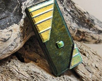 Dichroic Fused Glass Money Clip Iridescent Green Mens Accessories Dichroic Jewelry Gifts for Him Under 25 Dollars Gifts for Dad