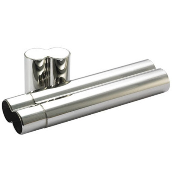 Stainless Steel Double Cigar Tube Hand Engraved