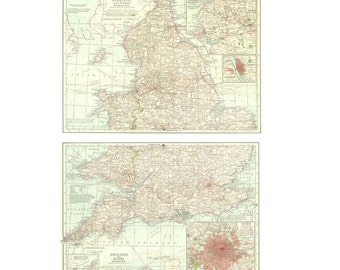 Vintage Map of England and Wales, Diptych, Large Map
