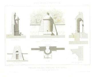 1873 Architectural Print,  Public Fountain, 19th Century French Architecture