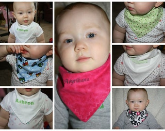 Boys and Girls Personalized Bandanna Bib that is Reversible for infants- You design!