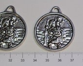 3 pcs per pack 30mm Solids Reversible San Christopher Coin Pendant in Antique Silver Lead free Pewter