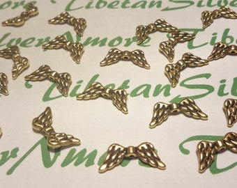 24 pcs per pkg of 21x6mm Angel Wing Beads Antique Gold Finish Lead Free Pewter