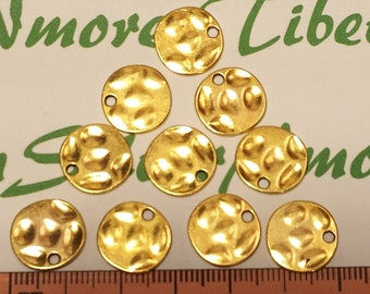 20 pcs per pack 14mm Blank Hammered Coin Tag Charms Gold Finish Lead Free Pewter