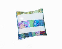 Quilted cushion, pillow, pillow case, quilted, modern home decor, blue green