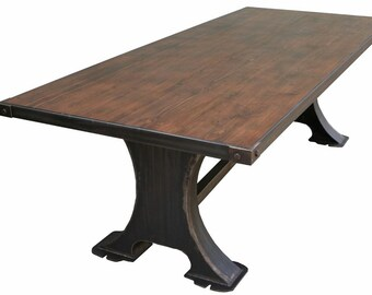 ROBERTO Industrial Metal Machine Base Dining Table With Reclaimed Wood Top Custom Built In Los Angeles