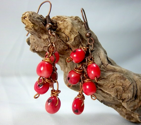 Coral and Copper Dangle earrings, on copper earwires, wire wrapped, lightweight