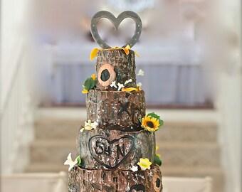 Western theme wedding cake topper, HORSESHOE heart, personalized w/ engraving
