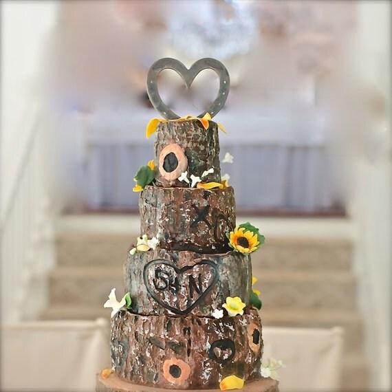 Western Theme Wedding Cake Topper HORSESHOE Heart