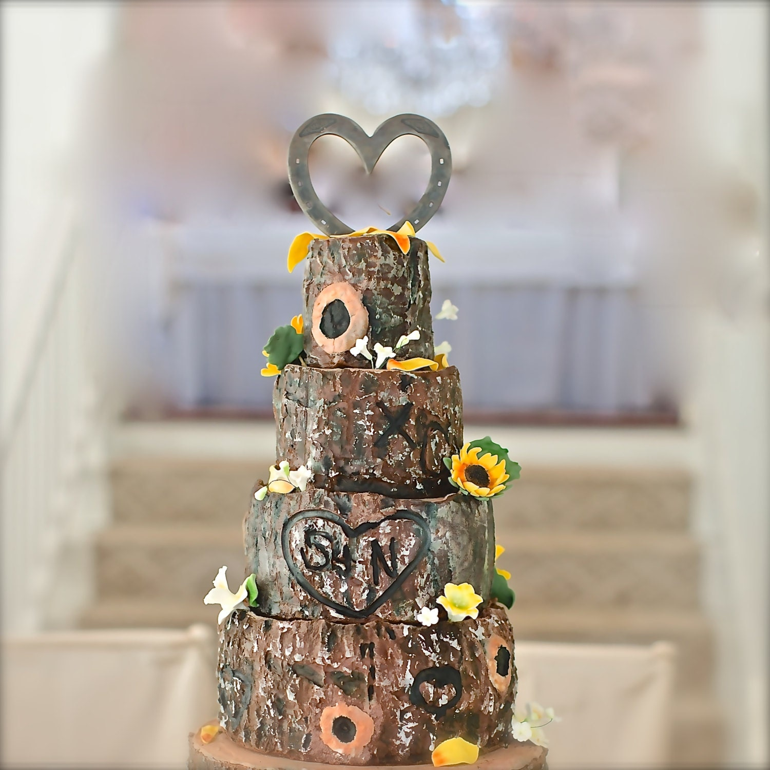Western Theme Wedding Cake Topper HORSESHOE Heart