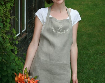 Pure Linen Full Organic Apron with Hand  Embroidered Monogram and Drawnwork