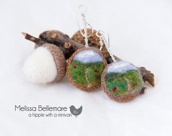 Needle Felted Earrings in Acorn Top: Field with Path Style