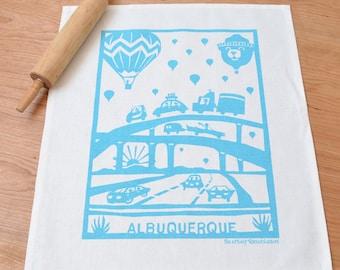 Balloons Linen Cotton Tea Towel: Turquoise