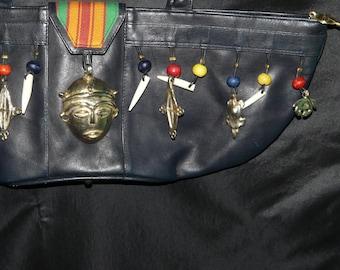Vintage Ashro Black Leather African Tribal Purse AS HRO Handbag Gold Bead Token Teath Dangles Africa