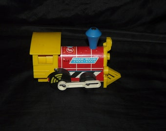 Vintage Fisher Price Toot Toot Train Toy 1964 Original FP Red Yellow Blue Locomotive