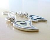 Sterling Silver Heart Earrings. Double Sided Asymmetric Rustic Love