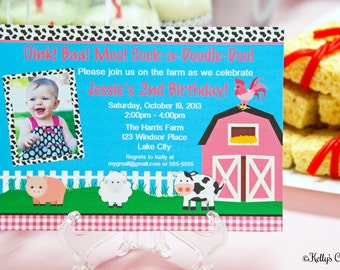 Barnyard Birthday Photo Invitation.... Custom, Printable, Digital